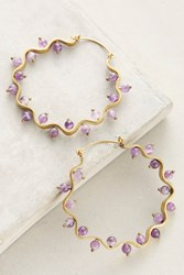 Anthropologie Scalloped Stone Hoop Earrings Purple