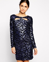 Little Mistress Sequin Shift Dress With Cut Out Detail Navy