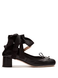Miu Miu Block Heel Leather Ballet Pumps Black
