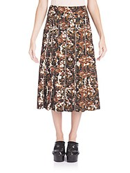 Bottega Veneta Camo Print Midi Skirt Black Multi