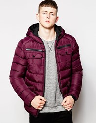 Brave Soul Padded Jacket With Hood Red