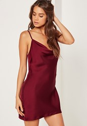 Missguided Silky Cowl Front Cami Dress Plum Purple