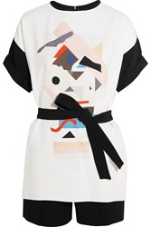 Victoria Beckham Layered Printed Crepe Playsuit White