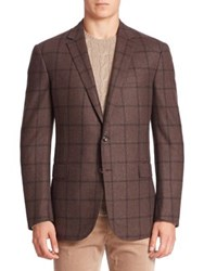 Ralph Lauren Purple Label Windowpane Wool And Cashmere Blazer Brown