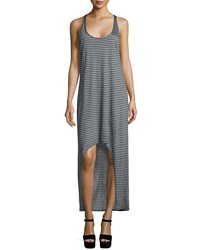 Haute Hippie Skinny Striped Racerback Tank Dress Light Heather Gray Mahogany Lt Hthrgry Mahoga