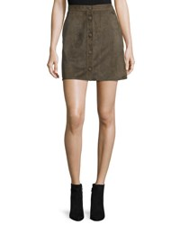 Helmut Lang Suede High Rise Mini Skirt Marsh