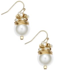 Inc International Concepts Catherine Stein For Gold Tone Imitation Pearl Drop Earrings Only At Macy's