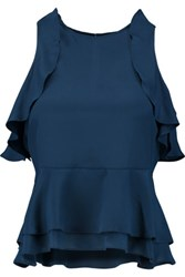 W118 By Walter Baker Sofie Ruffled Silk Top Navy