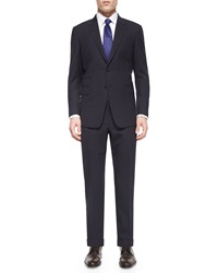Paul Smith Mini Check Two Piece Wool Suit Black Purple