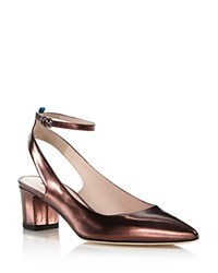 Sarah Jessica Parker Sjp By Maya Metallic Leather Ankle Strap Pumps 100 Exclusive Bronze