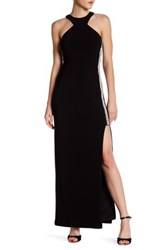 Jump Embellished Racer Neck Gown Black