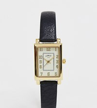 Limit Rectangular Faux Leather Watch In Black
