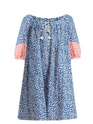 Thierry Colson Eva Leaf Print Cotton Dress Blue Multi