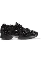 Simone Rocha Embellished Tweed Slip On Sneakers Black