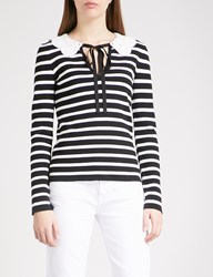 Claudie Pierlot Malimba Striped Cotton Jumper Black