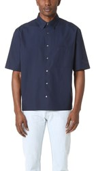 Vince Deep Pleat Boxy Fit Shirt Navy