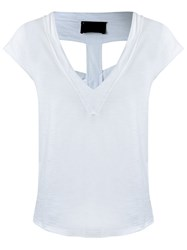 Andrea Bogosian V Neck Panelled Blouse White