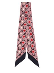 Gucci Gg Printed Silk Bow Scarf Pink
