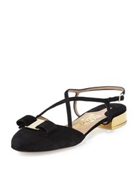 Salvatore Ferragamo Felma Strappy Open Back Suede Flat Black Nero