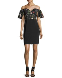 Faviana Embroidered Lace Off The Shoulder Cocktail Dress Multi