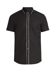 Dolce And Gabbana Contrast Piping Short Sleeved Cotton Shirt Black