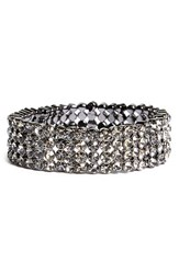 Women's Tasha Jeweled Stretch Bracelet Hematite Black
