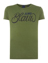 Scotch And Soda Men's Ams Blauw Brand Tee Military Green
