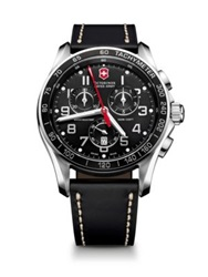 Victorinox Chrono Classic Xls Stainless Steel And Leather Chronograph Strap Watch Black