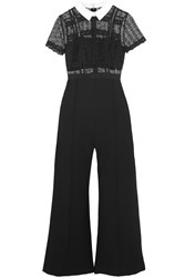 Self Portrait Guipure Lace And Crepe Jumpsuit Black