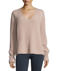 Helmut Lang Ribbed V Neck Pullover Sweater Dust