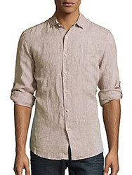 Saks Fifth Avenue Classic Fit Linen Button Down Shirt White