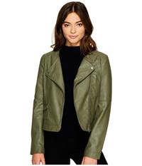 Bb Dakota Louis Drapey Soft Pu Cropped Jacket Light Olive Women's Coat