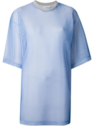 Andrea Crews Mesh T Shirt Dress Blue