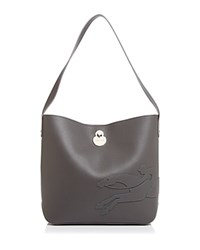 0534dbcd3 Longchamp Shop It Medium Leather Hobo Gray Silver