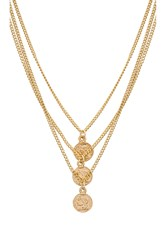 Joolz By Martha Calvo Triple Tribute Coin Necklace Metallic Gold