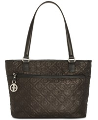 Giani Bernini Embossed Logo Tote Black Silver