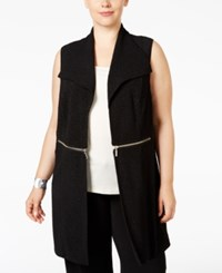 Alfani Plus Size Zip Trim Textured Vest Only At Macy's Deep Black