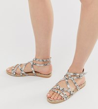 Boohoo Flat Sandals With Cross Over Straps And Ankle Ties In Snake Multi