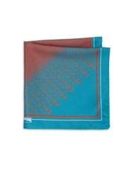 Vilebrequin Chevron And Seagull Print Silk Blend Pocket Square Teal Burgundy