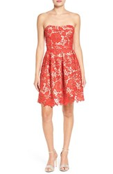 Lush Women's Lace Strapless Fit And Flare Dress