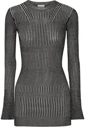 By Malene Birger Aliasi Metallic Ribbed Knit Sweater Silver