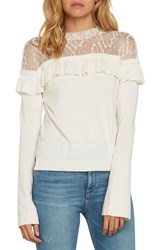 Willow And Clay Ruffle Show Sweater Ivory