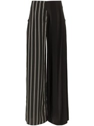 Esteban Cortazar Side Closure Striped Wool Blend Trousers Black