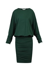 Jolie Moi Batwing Ruched Tunic Green