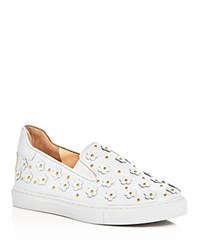 Isa Tapia Flower Applique Slip On Sneakers White Gold