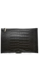 Victoria Beckham Simple Pouch Embossed Leather Clutch Black