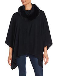 Cashmere Saks Fifth Avenue And Dyed Fox Fur Poncho Black