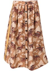 Coach Horse Print Buttoned Skirt Cotton Polyamide Polyester Wool Brown