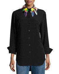 Christopher Kane Button Down Blouse W Embellished Collar Black