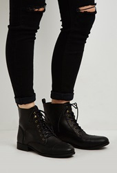 Forever 21 Lace Up Faux Leather Boots Black